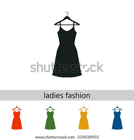 Sundress, Evening dress, combination or nightie on the wardrobe hanger, the silhouette. Menu item in the web design. - stock vector