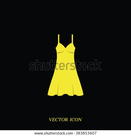 Sundress icon. Evening dress. Combination or nightie. The silhouette.  - stock vector