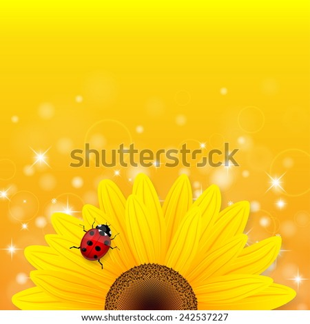 Sunflower and ladybird on yellow background. Vector illustration. - stock vector