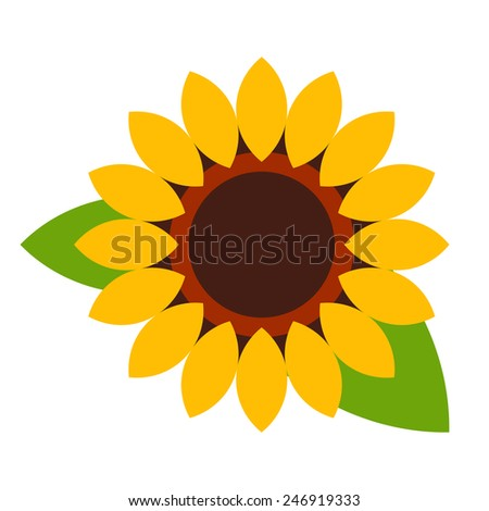 Sunflower - flower icon isolated on white background - stock vector