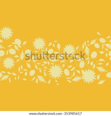 sunflower flower seamless background. silhouette flowers - stock vector