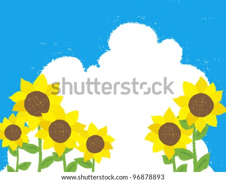 Sunflower frame was drawn with a crayon - stock vector