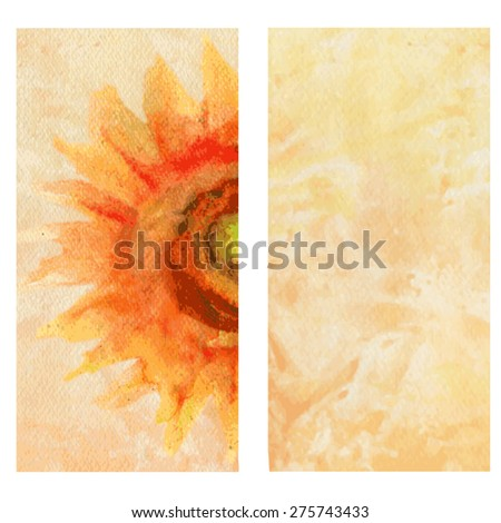 Sunflower Watercolor illustration, card. - stock vector