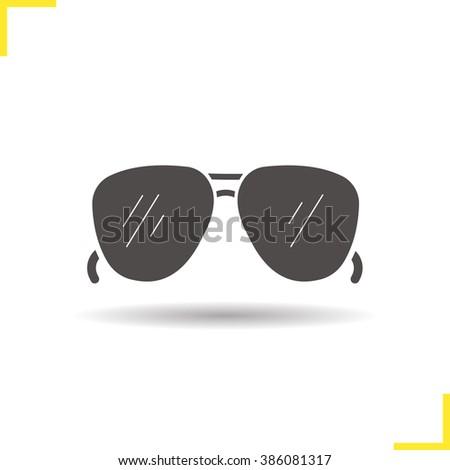 Sunglasses icon. Drop shadow sun glasses silhouette symbol. Men's summer fashion accessory. Sunglasses logo concept. Vector sun glasses isolated illustration - stock vector