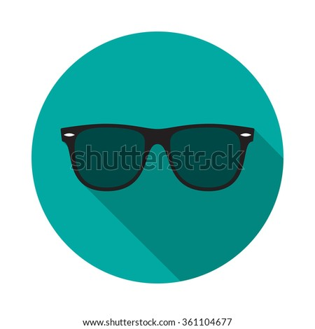 Sunglasses icon with long shadow. Flat design style. Round icon. Web site page and mobile app design element. - stock vector