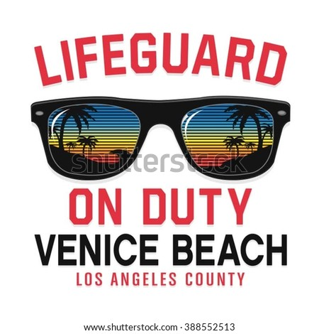 Sunglasses lifeguard beach typography, t-shirt graphics, vectors - stock vector