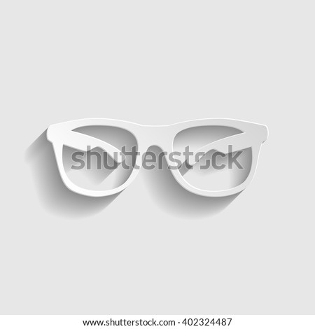 Sunglasses sign. Paper style icon with shadow on gray. Sunglasses vector illustration. Paper sunglasses. Sunglasses icon - stock vector