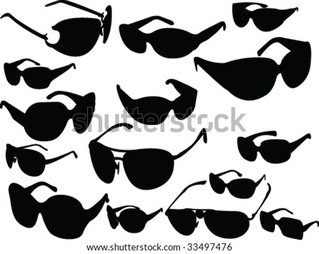 sunglasses silhouette collection - vector - stock vector