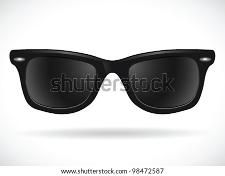 Sunglasses (wayfarer black isolated)- vector illustration Shadow and background on separate layers. Easy editing. - stock vector
