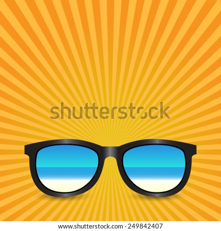 sunglasses with background - stock vector