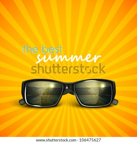 sunglasses with tropical island reflection. summer background - stock vector