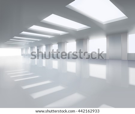 Sunlit large hall. Vector illustration. - stock vector