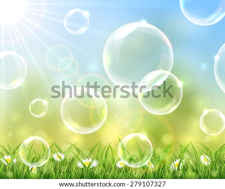 Sunny background with bubbles above the grass, illustration. - stock vector