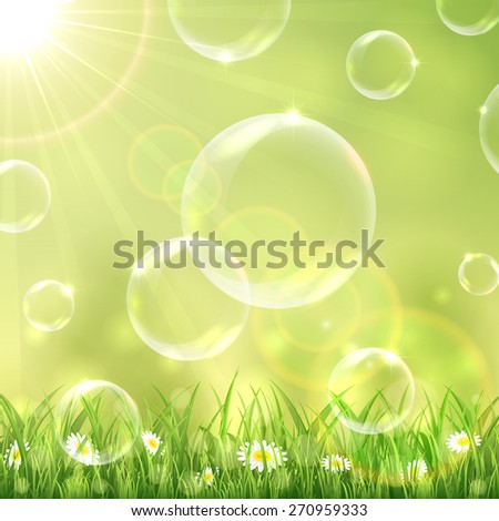 Sunny background with grass and bubbles, illustration. - stock vector
