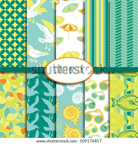 Sunny Beach Patterns Collection - stock vector