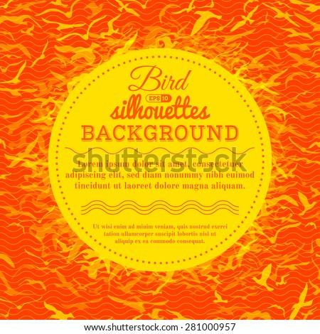 Sunny birds background. Bright vector background. There is place for text in the center. - stock vector