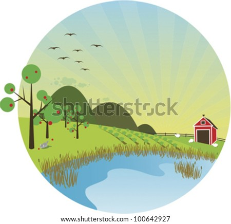 Sunny farm scene with pond in the foreground. - stock vector
