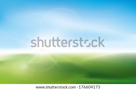 Sunny impression with blurry lens bokeh on a field of grass.  - stock vector