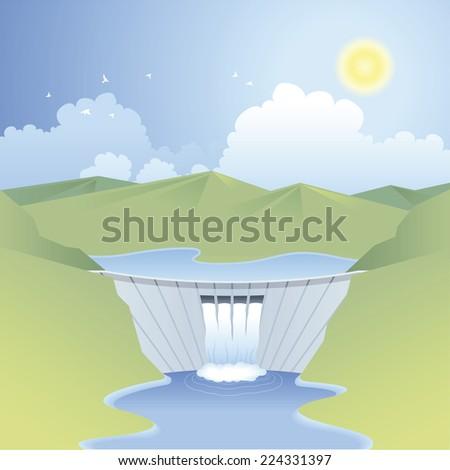 Sunny landscape with dam, renewable energy scene - stock vector