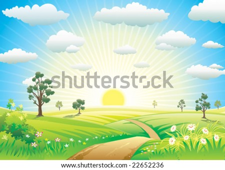 Sunny Meadow landscape of vector illustration layered. - stock vector