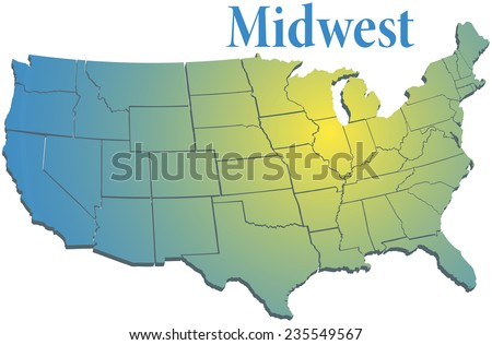 Sunny spotlight shines on midwest map of states in US Midwestern region - stock vector
