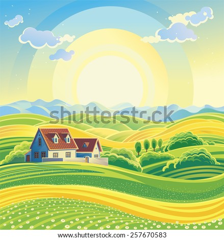 Sunny summer landscape with village.  - stock vector