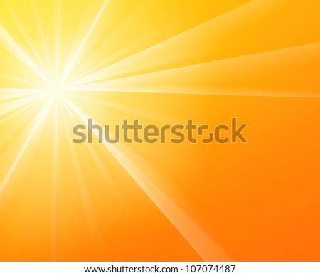 Sunny Sunshine - Yellow solar Sun light on a bright and warm orange sky - stock vector