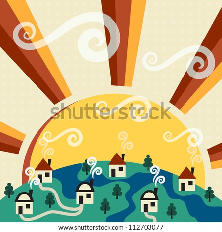 Sunny village - stock vector