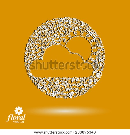 Sunny weather stylized icon. meteorology pictogram created from floral pattern. Summer cloud with a shining sun, graphic design element. - stock vector