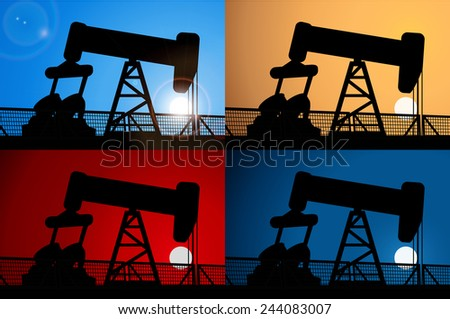 Sunrise and oil rig,Sunset and oil rig,oil price crisis,oil rig at night, Vector background - stock vector