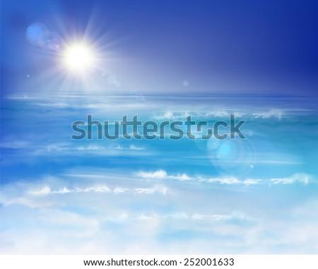 Sunrise on the sea. Vector Illustration. - stock vector