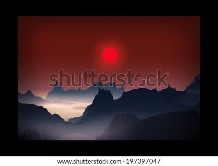 Sunrise sunset landscape. Red sun. Blue Mountains. - stock vector