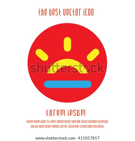 Sunrise/Sunset vector icon. Simple isolated round logo. - stock vector