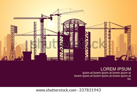 sunrise under construction - stock vector