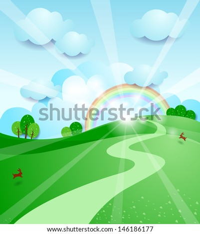 Sunrise, vector illustration - stock vector