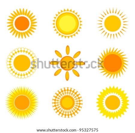 Suns collection. Vector illustration - stock vector