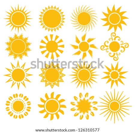 suns - elements for design - stock vector