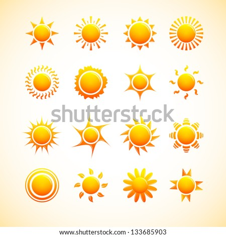 Suns icons - stock vector