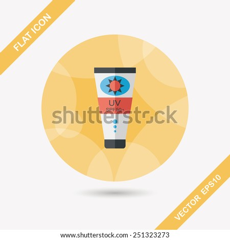 Sunscreen flat icon with long shadow,eps10 - stock vector