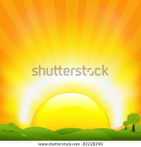 Sunset And Field, Vector Illustration - stock vector