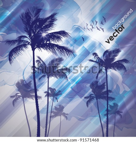 Sunset and palms - stock vector