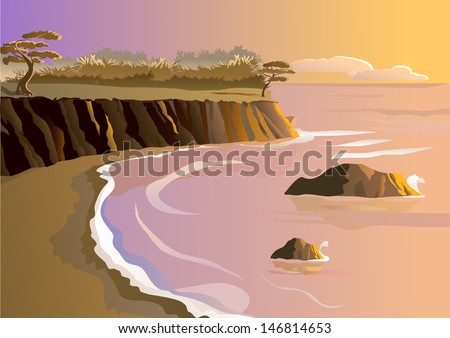 Sunset at seashore - stock vector