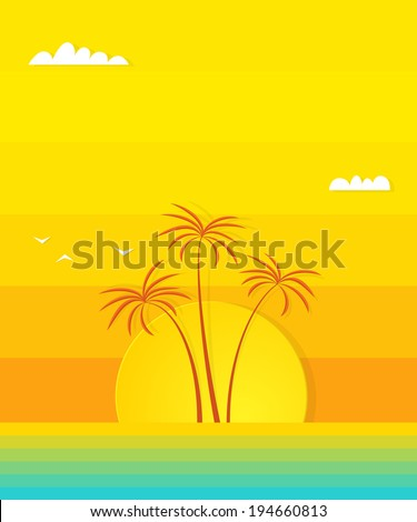 Sunset beach picture - stock vector