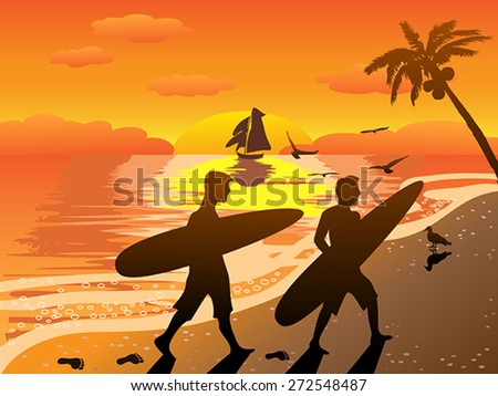 sunset beach surfers illustraion - stock vector