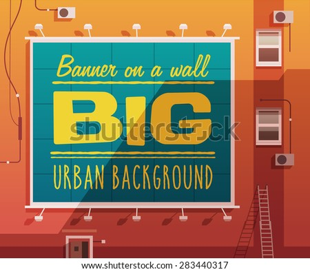 Sunset city. Banner on a wall. Vector illustration. - stock vector