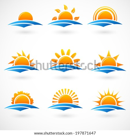 Sunset icons - stock vector