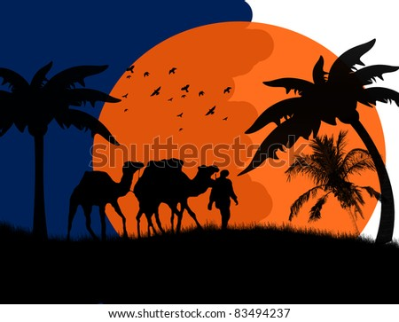 Sunset in the Sahara Desert with camels and palms, vector illustration - stock vector