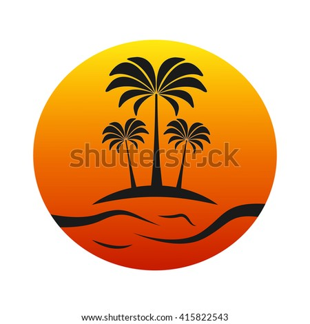 sunset island with palm trees - stock vector