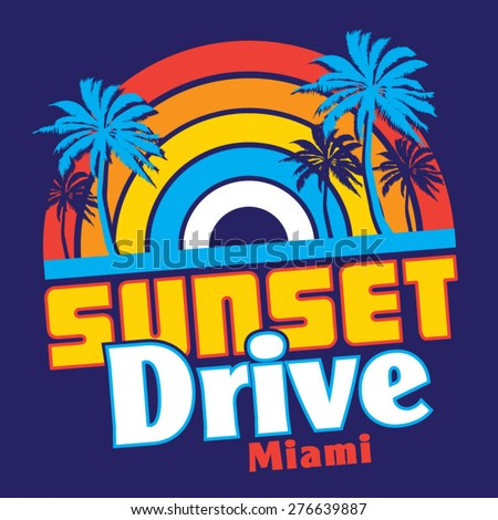 Sunset Miami tropical typography, t-shirt graphics, vectors - stock vector