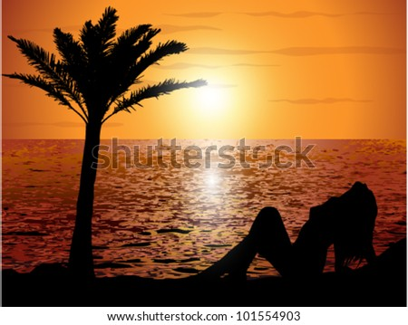Sunset on the beach with a girl - stock vector
